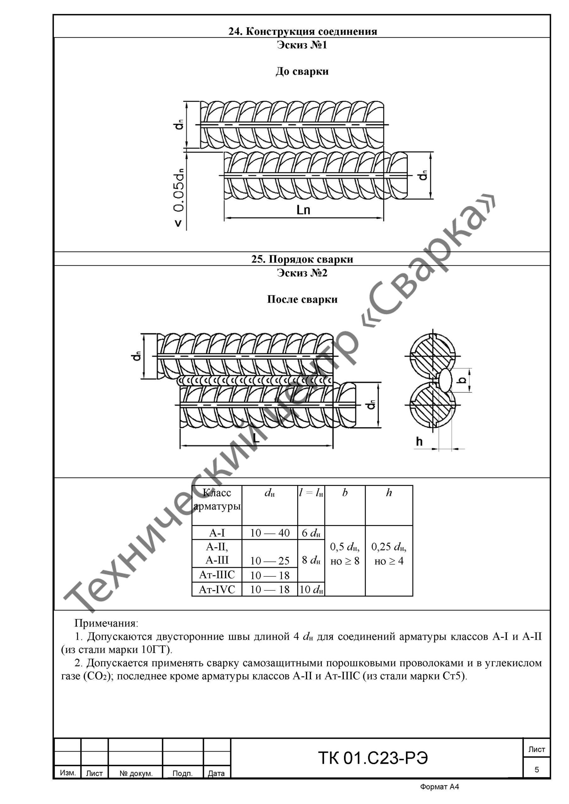 Пример карты технологического процесса сварки из проекта производства сварочных работ